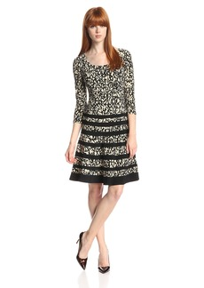 Anne Klein Women's 3/4 Sleeve Square Neck Printed Dress