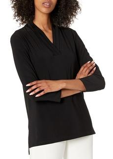 Anne Klein Women's 3/4 Sleeve Triple Pleat Top  XL