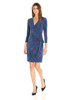 Anne Klein Women's 3/4 Sleeve Vneck Ruffled Skirt Dress