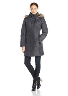 Anne Klein Women's 35 Inch Chevron Down Coat with Detachable Faux-Fur Trim Hood