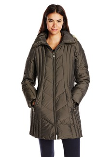 Anne Klein Women's 35 Inch Chevron Down Coat with Faux Fur Trim Hood