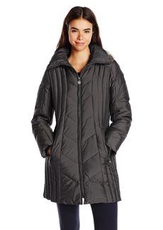 Anne Klein Women's 35 Inch Chevron Down Coat with Faux Fur Trim Hood  X-Large