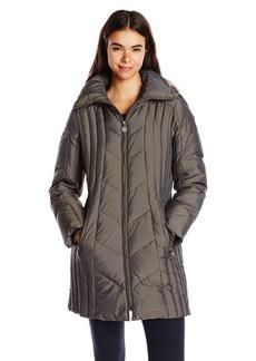 Anne Klein Women's 35 Inch Chevron Down Coat with Faux Fur Trim Hood  Small
