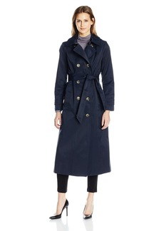 """Anne Klein Women's 49"""" Long Double-Breasted Trench Coat with Removable Hood  L"""