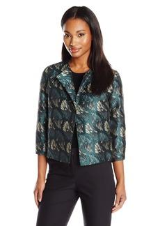 Anne Klein Women's Abstract Jacquard Flyaway Jacket