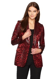Anne Klein Women's Animal Jacquard Boyfriend Jacket
