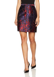 Anne Klein Women's Animal Jacquard Pencil Skirt Phoenix/Titian RED Combo