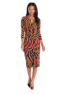 Anne Klein Women's Animal Print Front Twist Dress