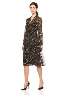 Anne Klein Women's Animal Print Long Sleeve Fit and Flare Dress