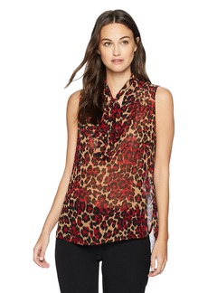 Anne Klein Women's Animal Print Tie Front Sleeveless Blouse titian Red/Tangier Combo L