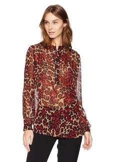 Anne Klein Women's Animal Printed Long Sleeve Blouse  XL