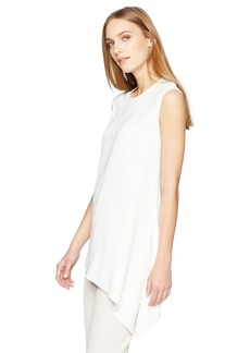 Anne Klein Women's Asymetric Hem Crepe Cap Sleeve Blouse