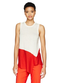 Anne Klein Women's Asymmetrical Color Block Top  L