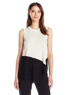 Anne Klein Women's Asymmetrical Color Block Top  M