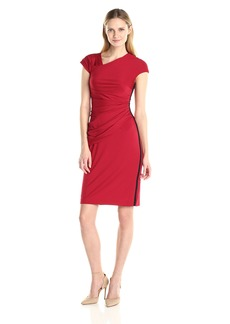 Anne Klein Women's Asymmetrical Neckline Side Drape Dress with Exposed Side Zipper