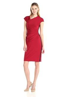 Anne Klein Women's Asymmetrical Neckline Side Drape Dress with Exposed Side Zipper