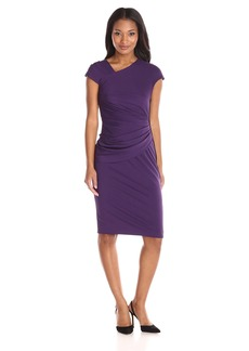 Anne Klein Women's Asymmetrical Side Drape Dress with Exposed Side Zipper