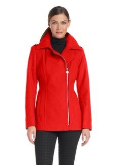 Anne Klein Women's asymmetrical Wool Zip Jacket