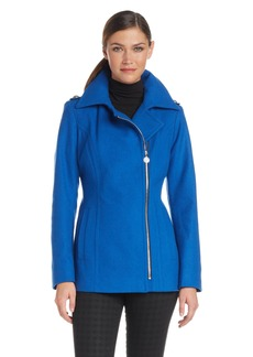 Anne Klein Women's asymmetrical Wool Zip Jacket