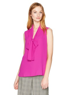 Anne Klein Women's Bow Front Blouse Cassis XL