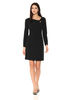 Anne Klein Women's Bow Front Crepe Long Sleeve Dress