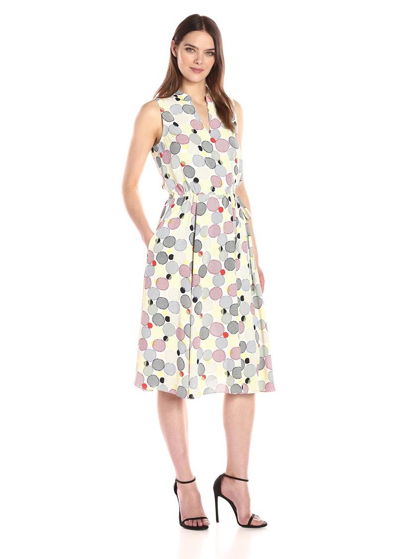 Anne Klein Women S Bubble Printed Drawstring Waist Midi Dress