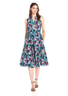 Anne Klein Women's Bubble Printed Drawstring Waist Midi Dress