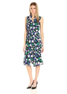 Anne Klein Women's Bubble Printed Georgette Drawstring Waist Midi Dress