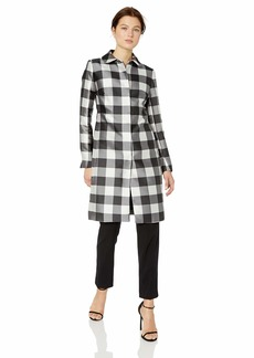 Anne Klein Women's Button Front Topper Coat Black/White Combo