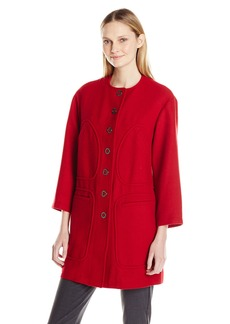 Anne Klein Women's Button Front Wool Felt Coat