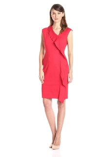 Anne Klein Women's Cap Sleeve Asymmetrical Neck Ruffle Dress
