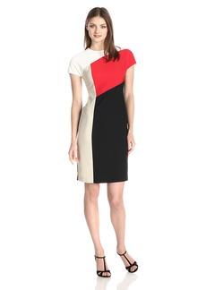 Anne Klein Women's Cap Sleeve Color Block Sheath Dress