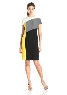 Anne Klein Women's Cap Sleeve Color Block Sheath Dress