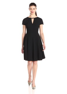 Anne Klein Women's Cap Sleeve Fit and Flare Dress with Neck Trim