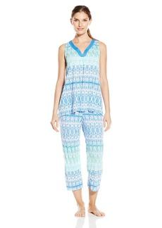Anne Klein Women's Capri Pajama Set Sleeveless Crinkle Knit