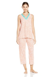 Anne Klein Women's Capri Pajama Set Sleeveless Crinkle Knit