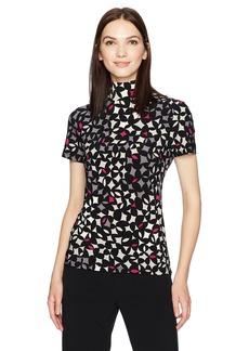 Anne Klein Women's Short Sleeve Mock Neck Top  M