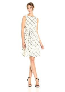 Anne Klein Women's Check Plaid Fit and Flare with Sash