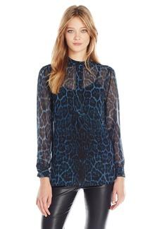 Anne Klein Women's Cheetah Print Long Sleeve Blouse