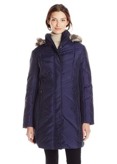 Anne Klein Women's Chevron Down Coat with Faux Fur Trim 35 Inch