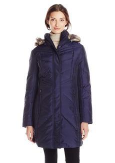 Anne Klein Women's Chevron Down Coat with Faux Fur Trim 35 Inch