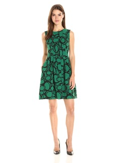 Anne Klein Women's Circle Printed Crepe Vertical Seamed Fit and Flare Dress