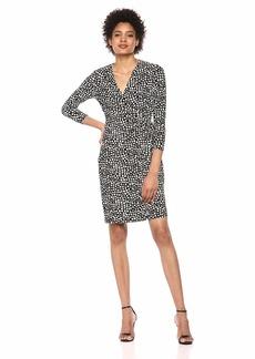 Anne Klein Women's Classic V-Neck Faux WRAP Dress BLK/Anne White M