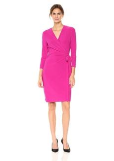 Anne Klein Women's Classic V-Neck Faux Wrap Dress Cassis XL