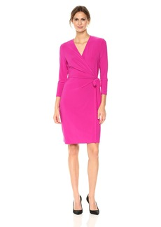 Anne Klein Women's Classic V-Neck Faux Wrap Dress Cassis XS