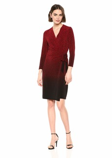 Anne Klein Women's Classic V-Neck Faux WRAP Dress Dark Titian red/Anne Black Combo L