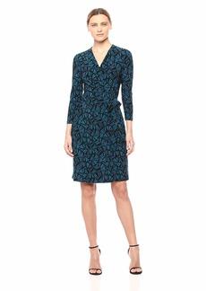 Anne Klein Women's Classic V-Neck Faux WRAP Dress Juniper/fir Combo M