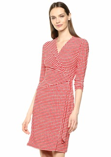 Anne Klein Women's Classic V-Neck Faux WRAP Dress  M