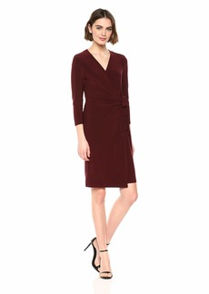 Anne Klein Women's Classic V-Neck Faux WRAP Dress TROUBADOR L
