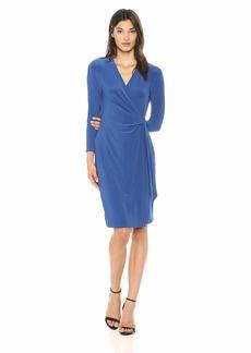 Anne Klein Women's Classic V-Neck Faux WRAP Dress  XL